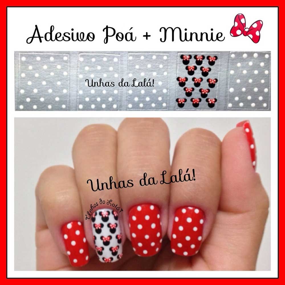 Unhas Decoradas Poá + Minnie